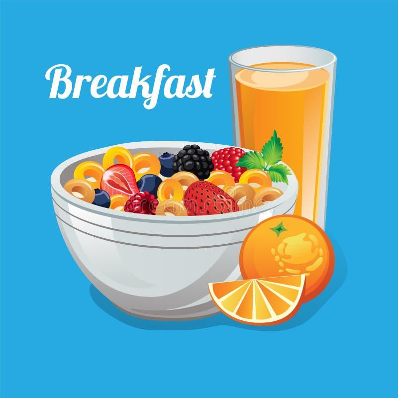 Διανυσματική απεικόνιση muesli δημητριακών φρούτων προγευμάτων απεικόνιση αποθεμάτων