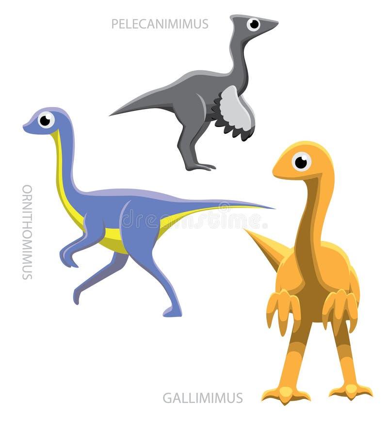 Διανυσματική απεικόνιση Ornithomimids δεινοσαύρων ελεύθερη απεικόνιση δικαιώματος