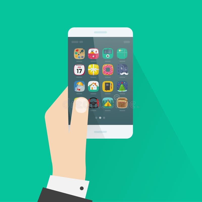 Διανυσματική απεικόνιση smartphone εκμετάλλευσης χεριών στο ζωηρόχρωμο υπόβαθρο απεικόνιση αποθεμάτων