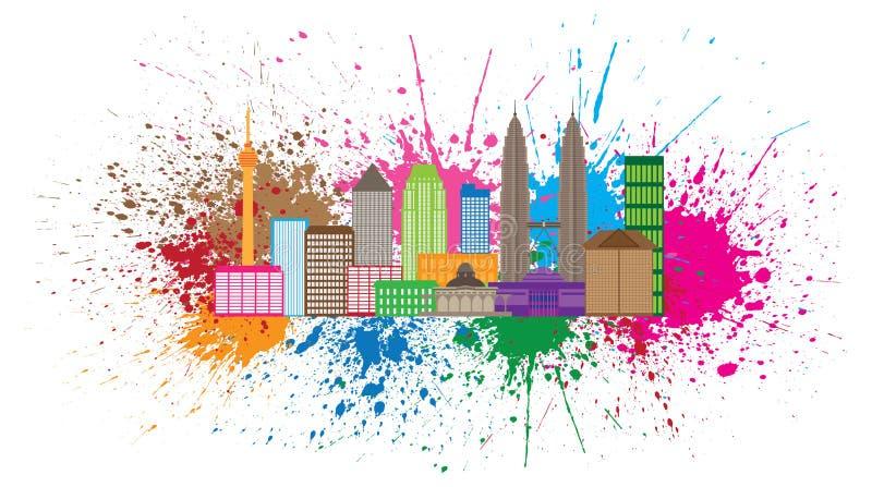 Διανυσματική απεικόνιση Splatter χρωμάτων οριζόντων πόλεων της Κουάλα Λουμπούρ ελεύθερη απεικόνιση δικαιώματος