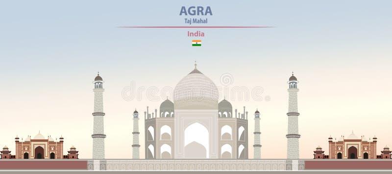 Διανυσματική απεικόνιση Taj Mahal σε Agra στο ζωηρόχρωμο όμορφο πρωινό υπόβαθρο κλίσης απεικόνιση αποθεμάτων