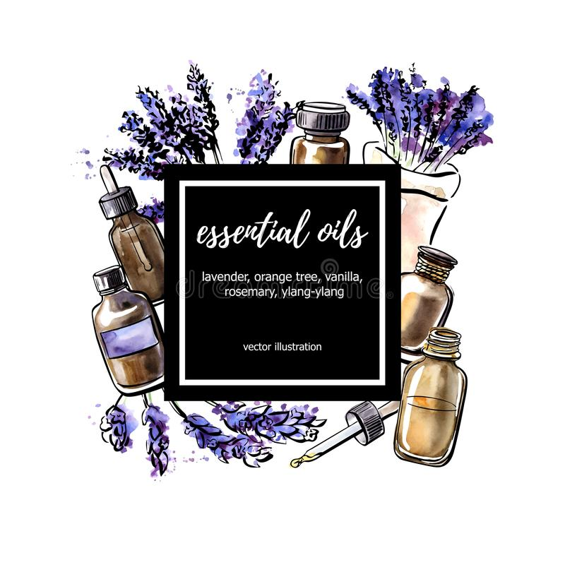 Διανυσματική απεικόνιση watercolor με Lavender τα μπουκάλια ουσιαστικού πετρελαίου ελεύθερη απεικόνιση δικαιώματος
