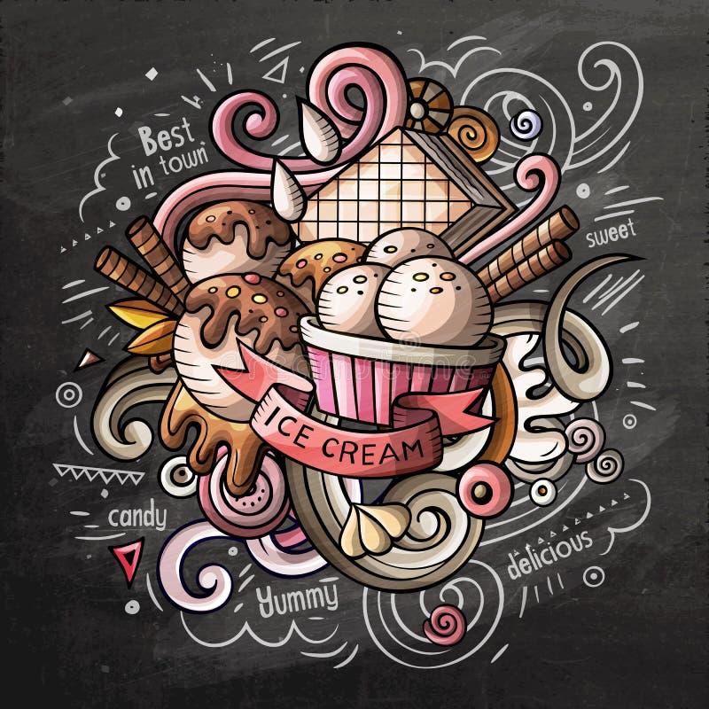 Διανυσματική απεικόνιση watercolor doodle κινούμενων σχεδίων παγωτού διανυσματική απεικόνιση