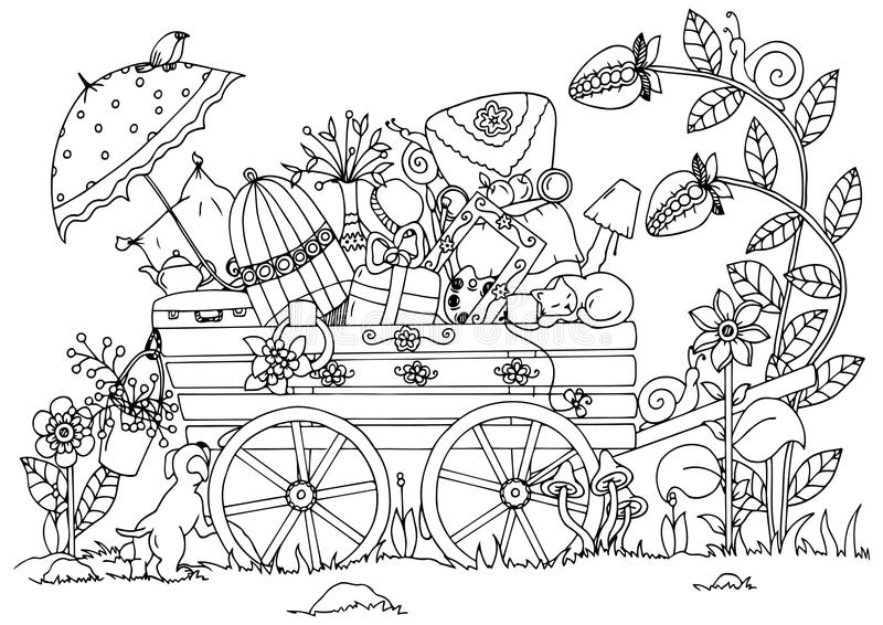 Διανυσματική απεικόνιση zentangl, κάρρο με τα πράγματα, ταξίδι, φύση Σχέδιο Doodle Στοχαστικές ασκήσεις γραφική απεικόνιση χρωματ απεικόνιση αποθεμάτων