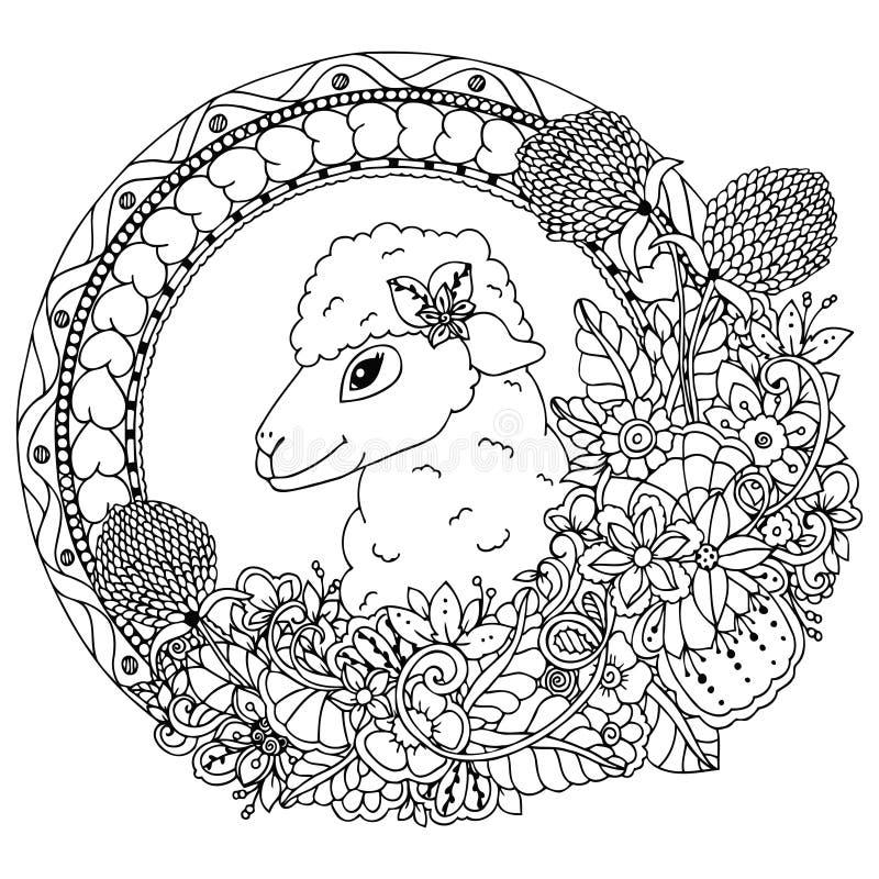 Διανυσματική απεικόνιση zentangl, πρόβατα στο στρογγυλό πλαίσιο με τα λουλούδια και floral Σχέδιο Doodle Χρωματίζοντας βιβλίο αντ ελεύθερη απεικόνιση δικαιώματος
