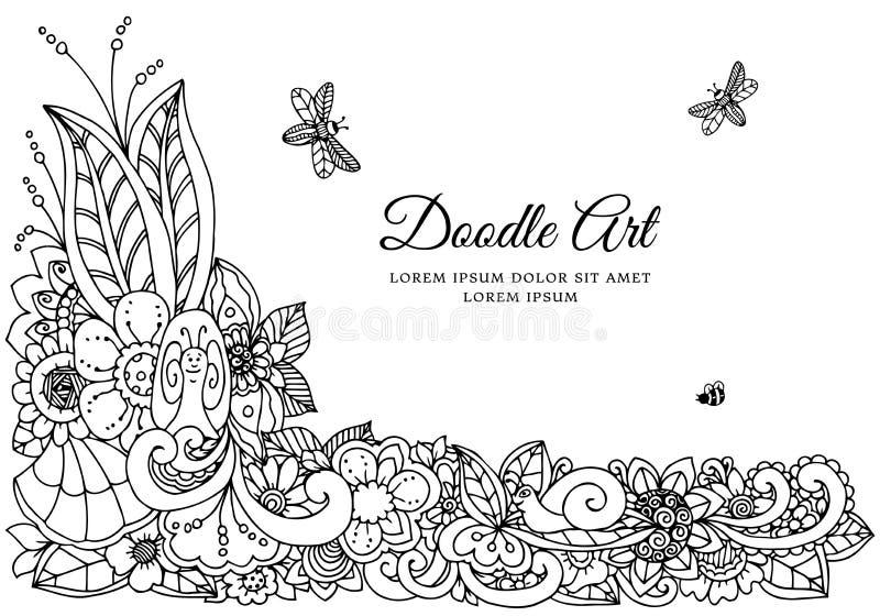 Διανυσματική απεικόνιση zentangl, floral πλαίσιο Σχέδιο Doodle Αντι πίεση βιβλίων χρωματισμού για τους ενηλίκους Στοχαστικές ασκή διανυσματική απεικόνιση