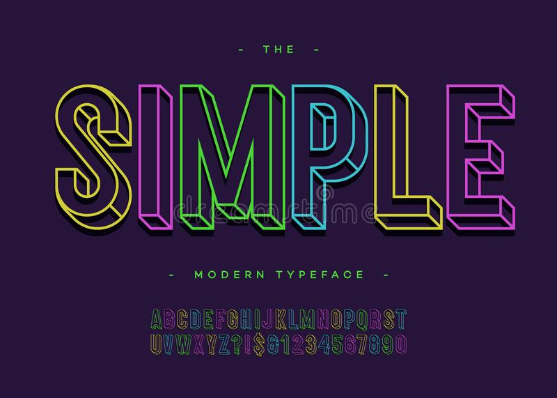 Διανυσματική απλή τρισδιάστατη τολμηρή τυπογραφία αλφάβητου χωρίς το ζωηρόχρωμο ύφος γραμμών πατουρών απεικόνιση αποθεμάτων