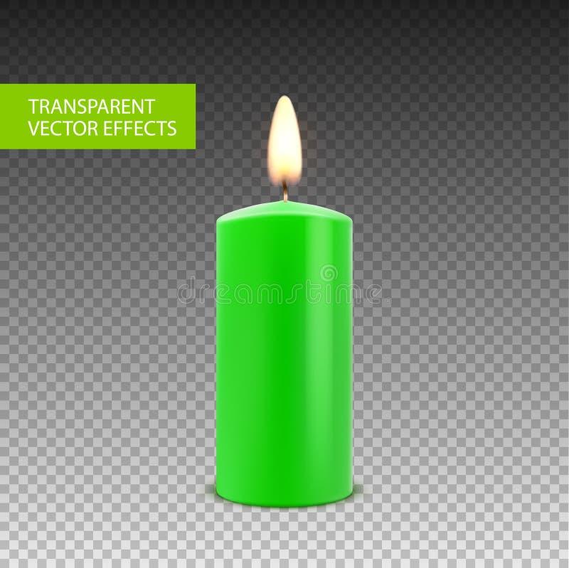 Διανυσματική απομονωμένη κερί διακόσμηση κεριών Φλόγα φωτός ιστιοφόρου για τον εορτασμό Φως κεριών πυράκτωσης ρεαλιστικό σε διαφα διανυσματική απεικόνιση