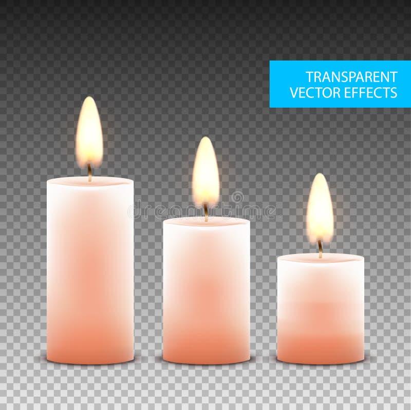 Διανυσματική απομονωμένη κερί διακόσμηση κεριών Φλόγα φωτός ιστιοφόρου για τον εορτασμό Φως κεριών πυράκτωσης ρεαλιστικό σε διαφα απεικόνιση αποθεμάτων