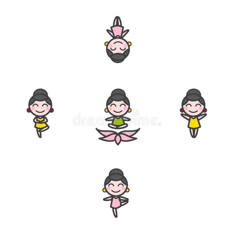 Διανυσματική αστεία μασκότ κοριτσιών κινούμενων σχεδίων στη γιόγκα πέντε διανυσματική απεικόνιση