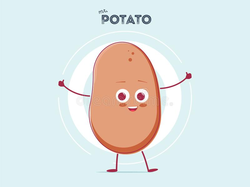 Διανυσματική αστεία μικροσκοπική πατάτα χαμόγελου κινούμενων σχεδίων χαριτωμένη καφετιά που απομονώνεται στο άσπρο υπόβαθρο Το όν απεικόνιση αποθεμάτων