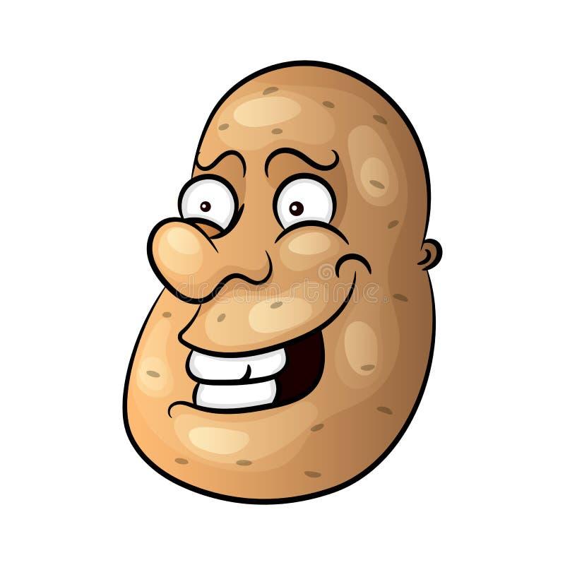 Διανυσματική αστεία μικροσκοπική πατάτα χαμόγελου κινούμενων σχεδίων χαριτωμένη καφετιά απεικόνιση αποθεμάτων
