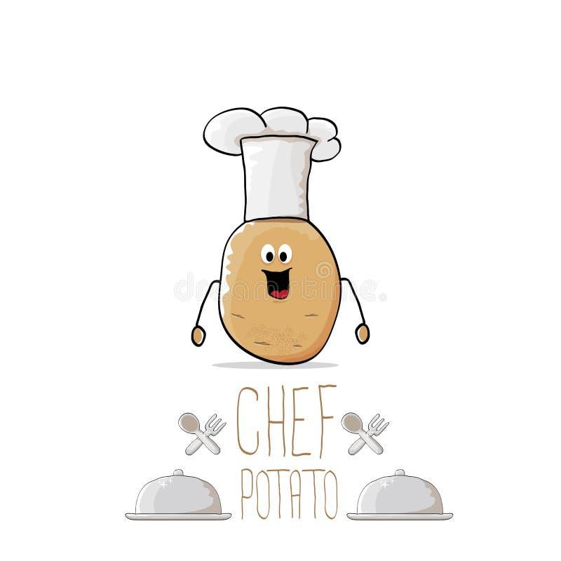 Διανυσματική αστεία πατάτα αρχιμαγείρων κινούμενων σχεδίων χαριτωμένη καφετιά με το mustache και τη γενειάδα ελεύθερη απεικόνιση δικαιώματος