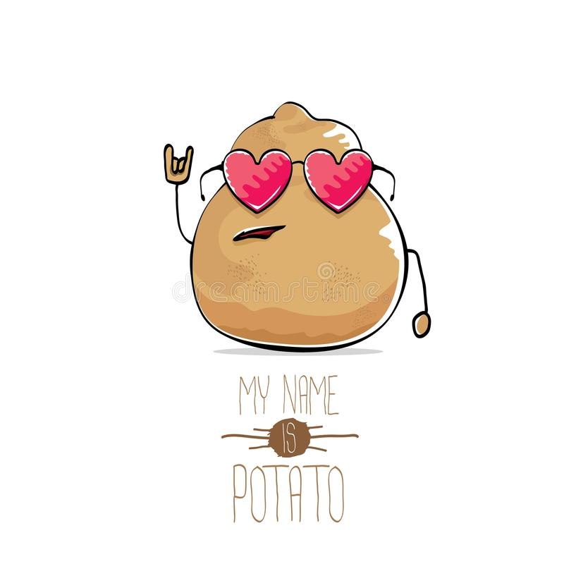 Διανυσματική αστεία χαριτωμένη καφετιά πατάτα κινούμενων σχεδίων ελεύθερη απεικόνιση δικαιώματος