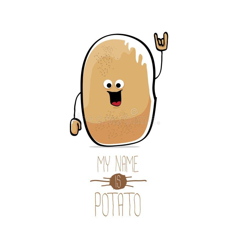 Διανυσματική αστεία χαριτωμένη καφετιά πατάτα κινούμενων σχεδίων απεικόνιση αποθεμάτων
