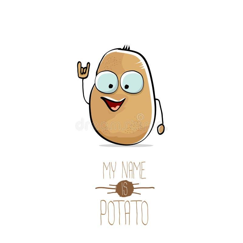 Διανυσματική αστεία χαριτωμένη καφετιά πατάτα κινούμενων σχεδίων διανυσματική απεικόνιση