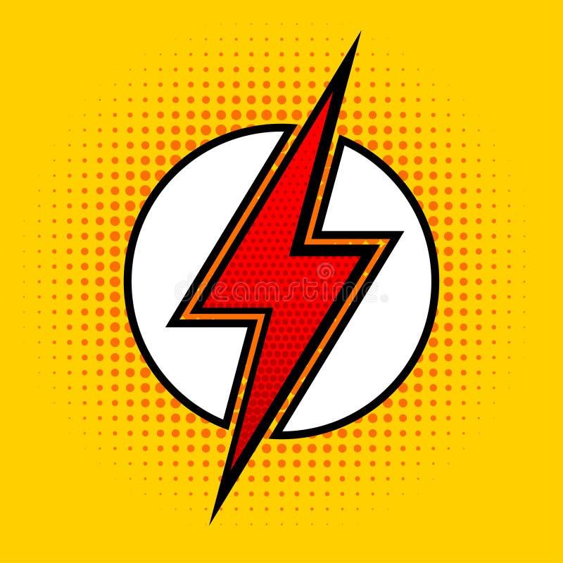 Διανυσματική αστραπή στο λαϊκό ύφος τέχνης Σημάδι του superhero απεικόνιση αποθεμάτων