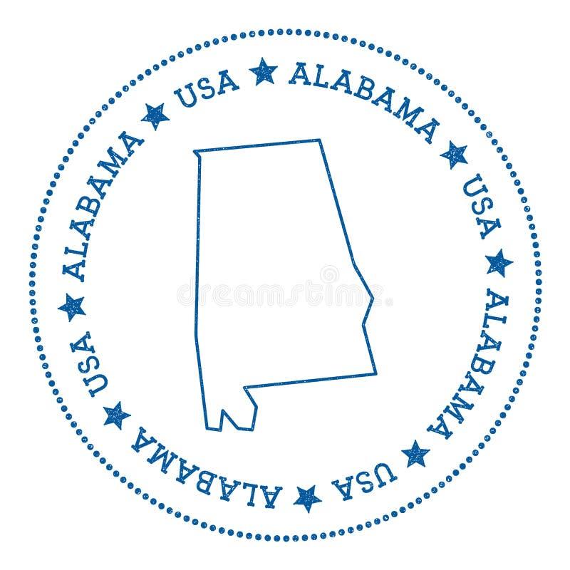 Διανυσματική αυτοκόλλητη ετικέττα χαρτών της Αλαμπάμα διανυσματική απεικόνιση