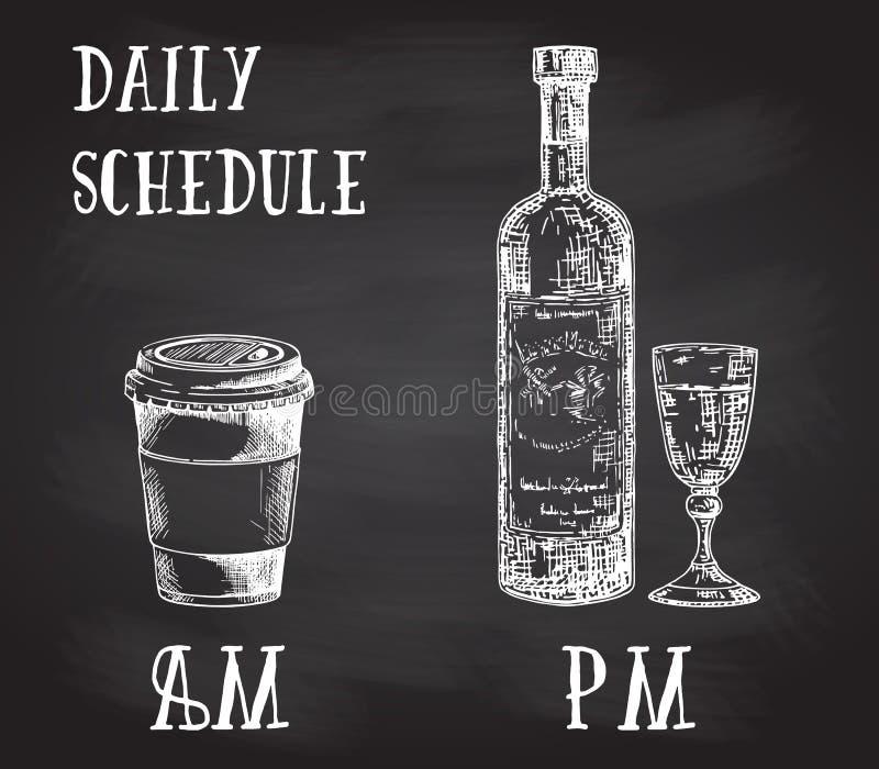 Διανυσματική αφίσα έννοιας με τις συνήθειες κατανάλωσης Καφές στο πρωί και οινόπνευμα το βράδυ Συρμένο χέρι σκίτσο επάνω διανυσματική απεικόνιση