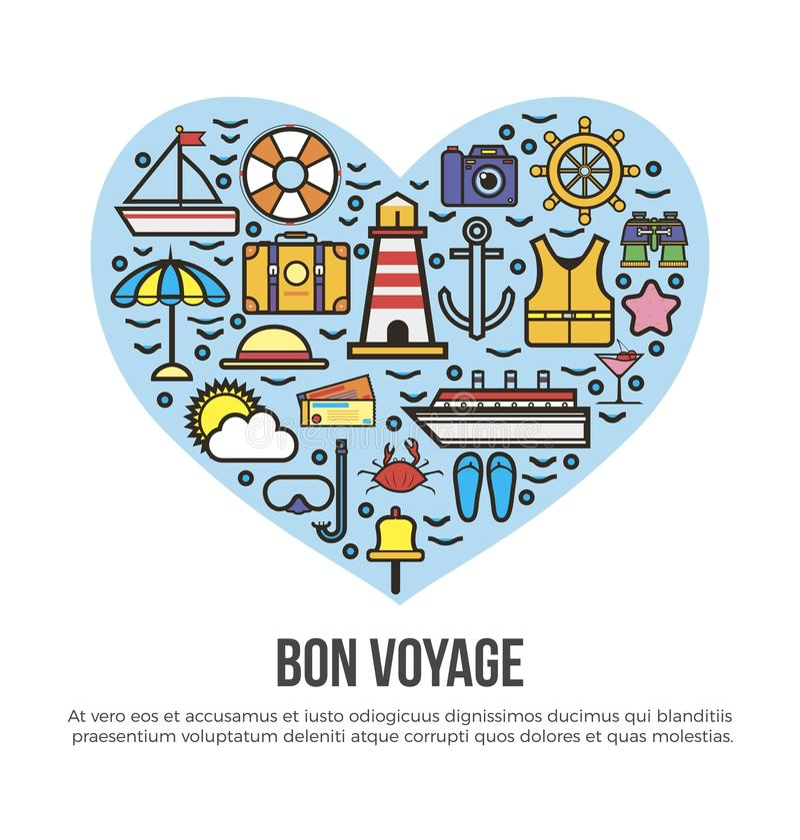 Διανυσματική αφίσα θερινών διακοπών ταξιδιού κρουαζιέρας θάλασσας καρδιών ταξιδιών Bon διανυσματική απεικόνιση
