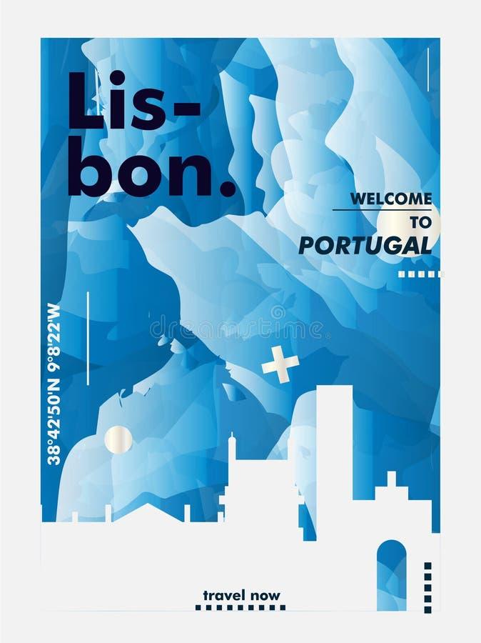 Διανυσματική αφίσα κλίσης πόλεων οριζόντων της Πορτογαλίας Λισσαβώνα διανυσματική απεικόνιση