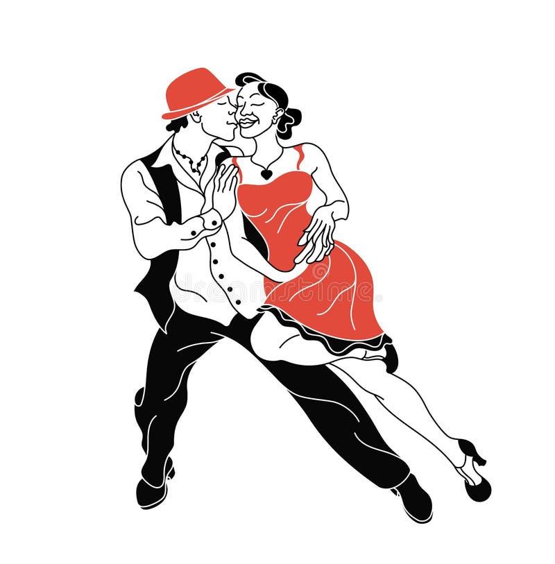 Διανυσματική αφίσα κομμάτων Salsa Κομψό salsa χορού ζευγών αναδρομικό ύφος Σκιαγραφίες του salsa χορού ανθρώπων απεικόνιση αποθεμάτων