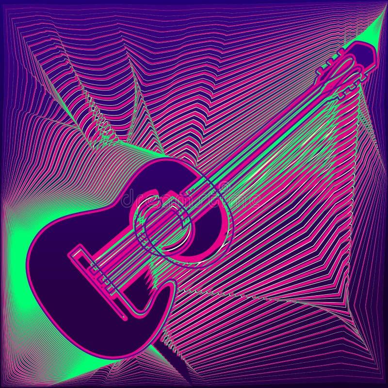 Διανυσματική αφίσα με την πολύχρωμη ακουστική κιθάρα, τις φωτεινές γραμμές, τη ζωντανή μουσική επιγραφής και τη θέση για το κείμε απεικόνιση αποθεμάτων