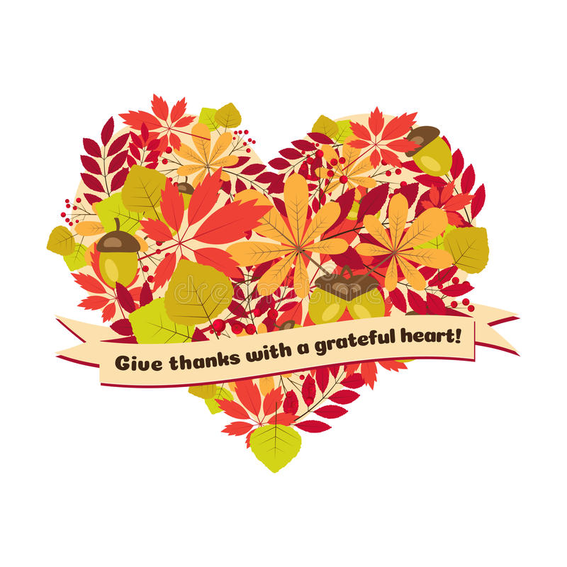 Διανυσματική αφίσα με το απόσπασμα - δώστε στις ευχαριστίες μια ευγνώμονα καρδιά Ευτυχή φύλλα και μούρα φθινοπώρου προτύπων καρτώ ελεύθερη απεικόνιση δικαιώματος