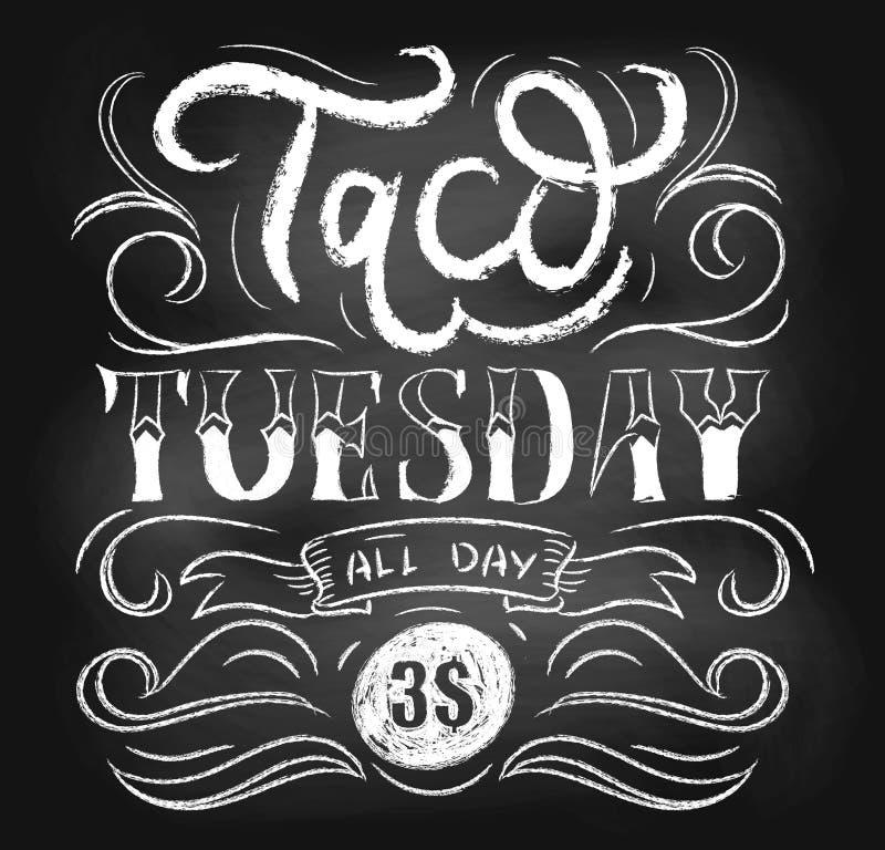Διανυσματική αφίσα πινάκων κιμωλίας Τρίτης Taco με την εγγραφή και τα flouris απεικόνιση αποθεμάτων