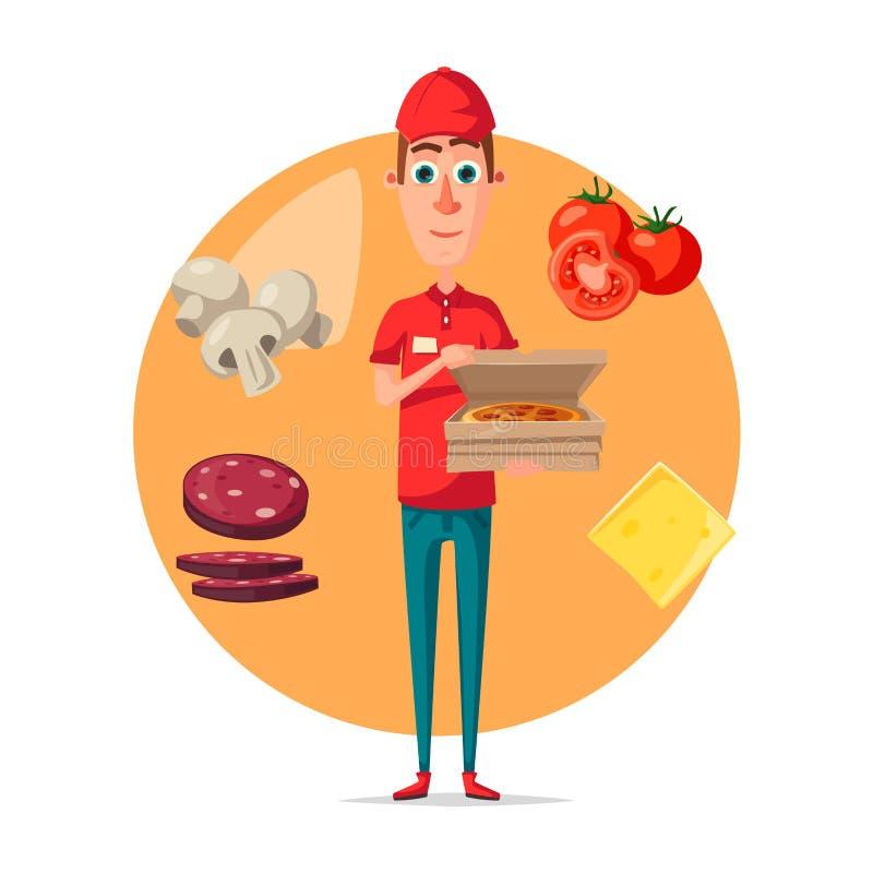 Διανυσματική αφίσα του ατόμου παράδοσης πιτσών για το pizzeria διανυσματική απεικόνιση