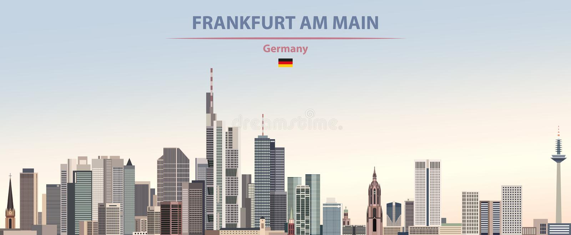 Διανυσματική αφίσα του ορίζοντα πόλεων της Φρανκφούρτης Αμ Μάιν στο ζωηρόχρωμο υπόβαθρο ουρανού ημέρας κλίσης όμορφο με τη σημαία απεικόνιση αποθεμάτων