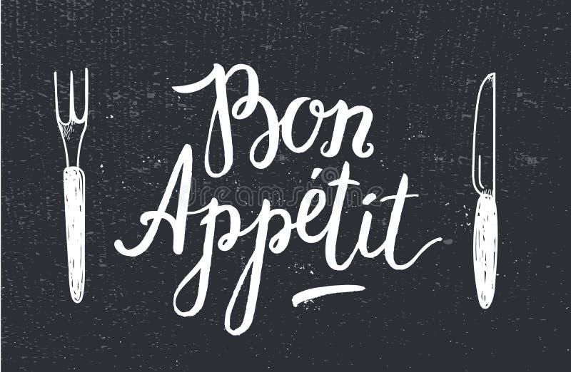 Διανυσματική αφίσα Bon Appetit με το δίκρανο και μαχαίρι στο μαύρο κατασκευασμένο υπόβαθρο απεικόνιση αποθεμάτων