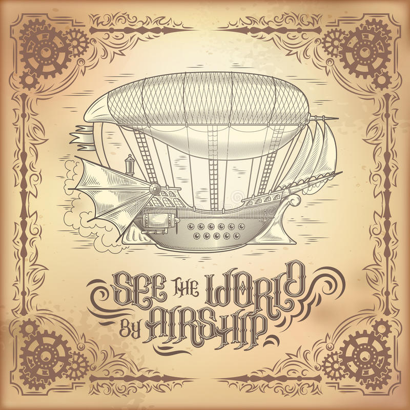 Διανυσματική αφίσα steampunk, απεικόνιση ενός φανταστικού ξύλινου πετώντας σκάφους ελεύθερη απεικόνιση δικαιώματος