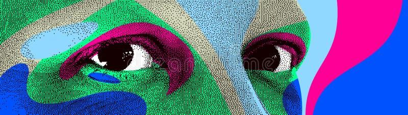 Διανυσματική αφαίρεση ύφους σχεδίου ματιών οκτάμπιτη διαστιγμένη, τυποποιημένο στοιχείο σχεδίου ανθρώπινου προσώπου διανυσματική απεικόνιση
