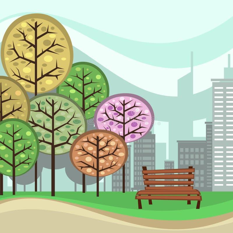 Διανυσματική αφηρημένη απεικόνιση πάρκων πόλεων με τα δέντρα και την καρέκλα διανυσματική απεικόνιση