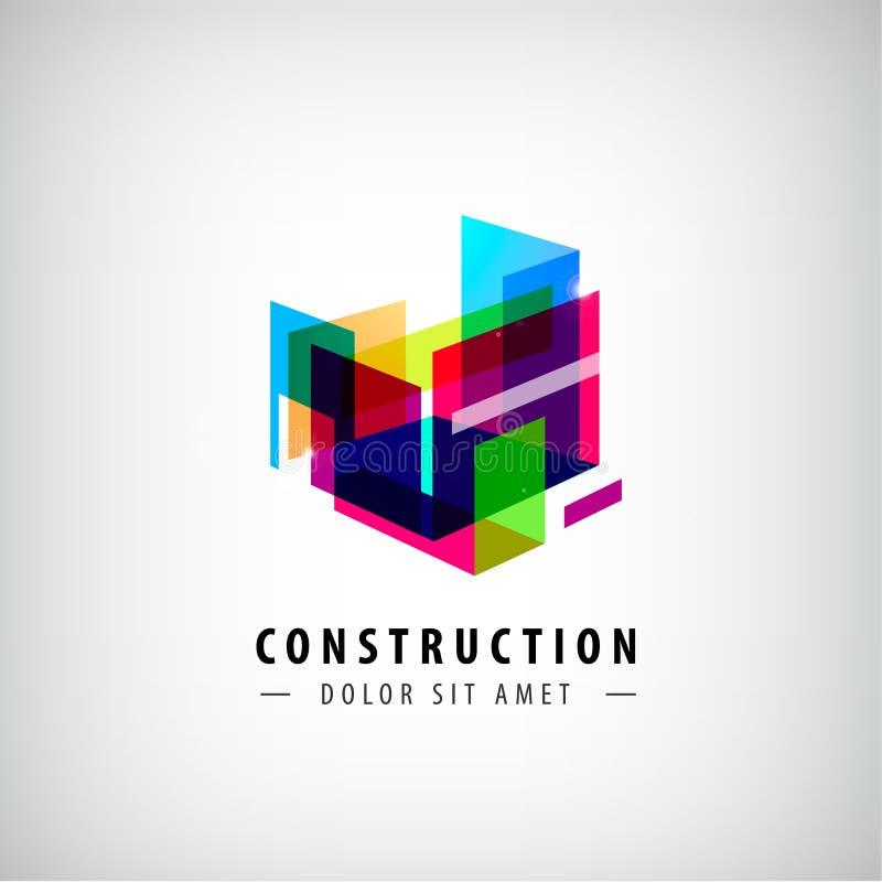 Διανυσματική αφηρημένη γεωμετρική κατασκευή, λογότυπο δομών Ζωηρόχρωμη τρισδιάστατη αρχιτεκτονική απεικόνιση αποθεμάτων