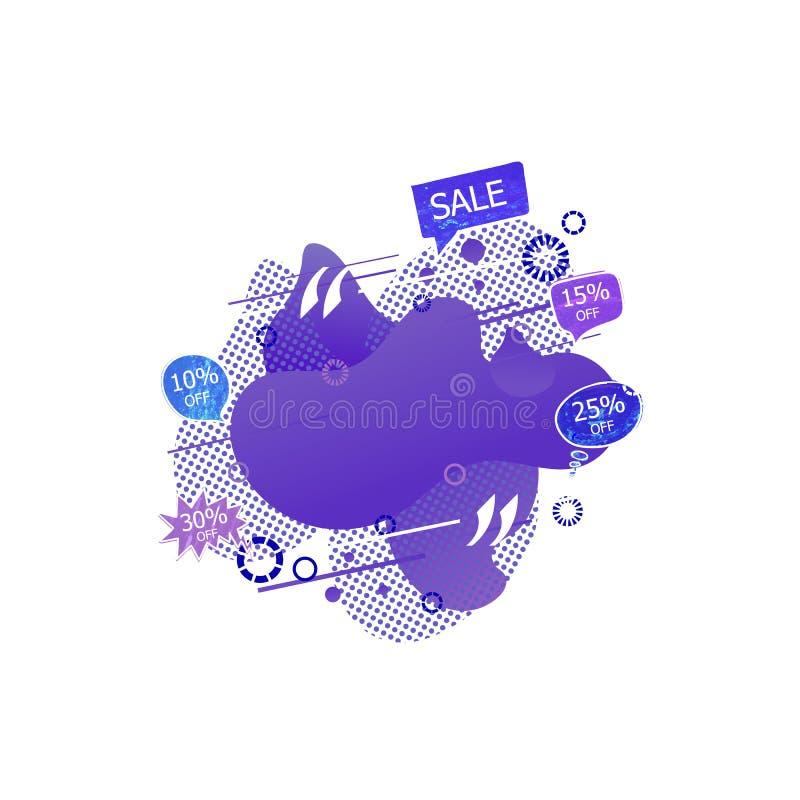 Διανυσματική αφηρημένη γεωμετρική μορφή με τις ετικέττες πώλησης, ημίτοά στοιχεία, διακοσμητική γραφική απεικόνιση, πορφυρά μπλε  ελεύθερη απεικόνιση δικαιώματος