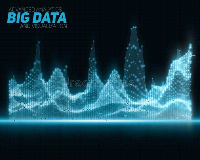 Διανυσματική αφηρημένη μπλε μεγάλη απεικόνιση στοιχείων Φουτουριστικό αισθητικό σχέδιο infographics Οπτική πολυπλοκότητα πληροφορ διανυσματική απεικόνιση