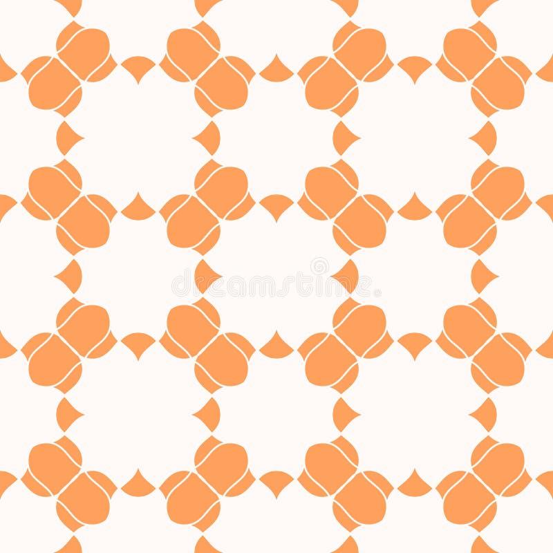 Διανυσματική αφηρημένη πορτοκαλιά άνευ ραφής σύσταση με τις κυρτές μορφές, σκιαγραφίες λουλουδιών διανυσματική απεικόνιση