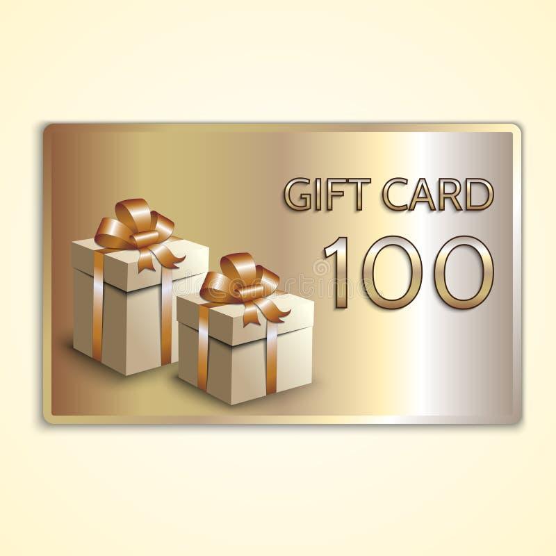 Διανυσματική αφηρημένη χρυσή κάρτα δώρων με τα κιβώτια απεικόνιση αποθεμάτων