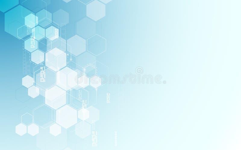 Διανυσματική αφηρημένη hexagons υποβάθρου sci τεχνολογίας σχεδίου σχεδίων έννοια καινοτομίας FI απεικόνιση αποθεμάτων