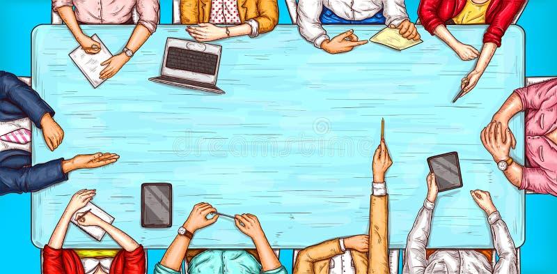 Διανυσματική λαϊκή απεικόνιση τέχνης ενός άνδρα και μια συνεδρίαση γυναικών σε μια άποψη επιτραπέζιων κορυφών διαπραγμάτευσης ελεύθερη απεικόνιση δικαιώματος