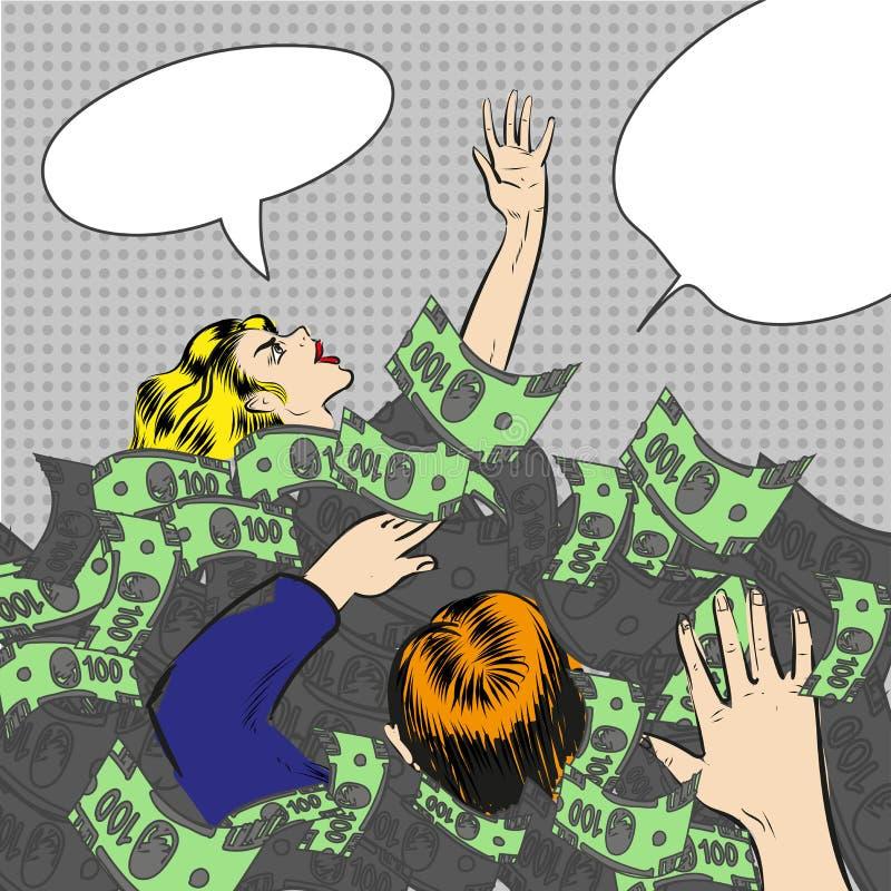Διανυσματική λαϊκή απεικόνιση τέχνης της βύθισης στους ανθρώπους χρημάτων απεικόνιση αποθεμάτων