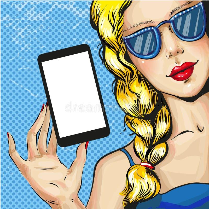 Διανυσματική λαϊκή απεικόνιση τέχνης της ξανθής γυναίκας με το smartphone απεικόνιση αποθεμάτων