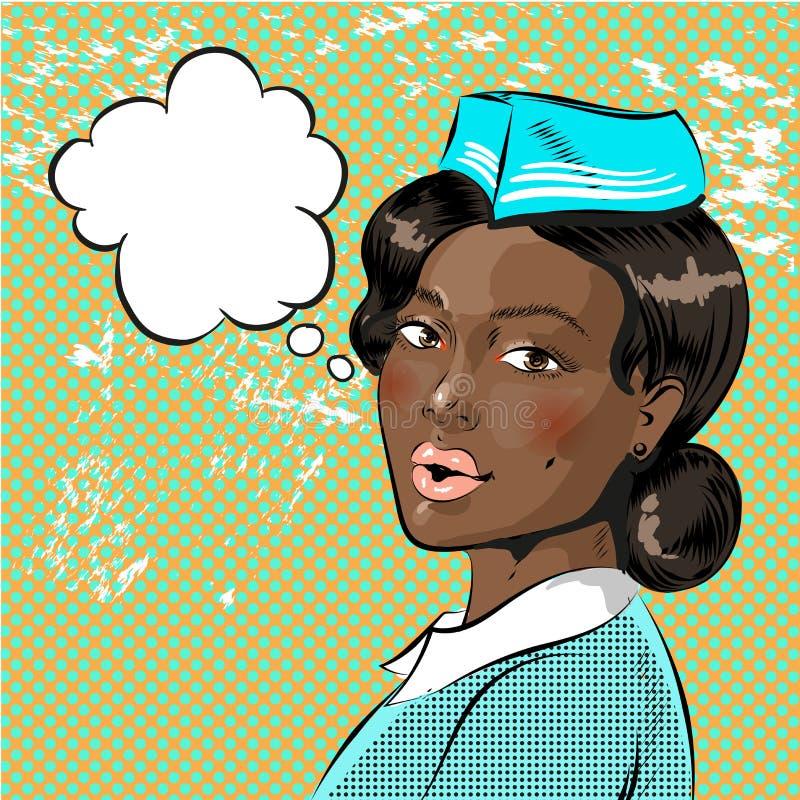 Διανυσματική λαϊκή απεικόνιση τέχνης της όμορφης αεροσυνοδού αφροαμερικάνων διανυσματική απεικόνιση