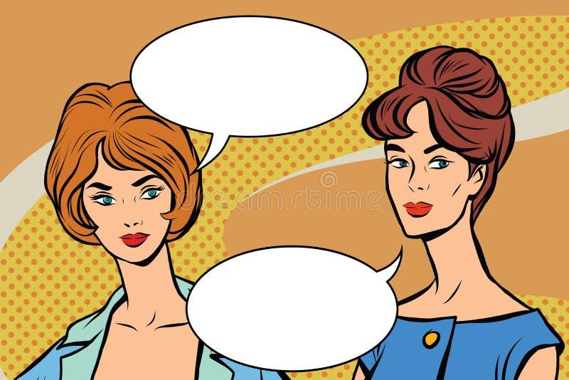 Διανυσματική λαϊκή τέχνη δύο γυναικών φίλων αναδρομική ελεύθερη απεικόνιση δικαιώματος