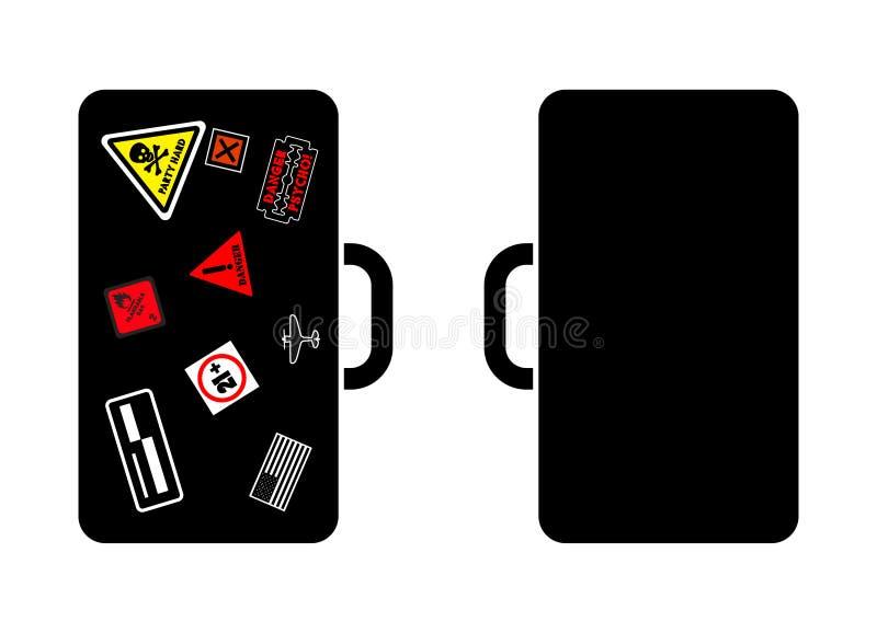 διανυσματική βαλίτσα εικόνας με τις αυτοκόλλητες ετικέττες διανυσματική απεικόνιση