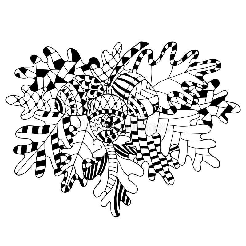 Διανυσματική βαλανιδιά απεικόνισης brunch, φύλλα και βελανίδια στο ύφος doodle διανυσματική απεικόνιση