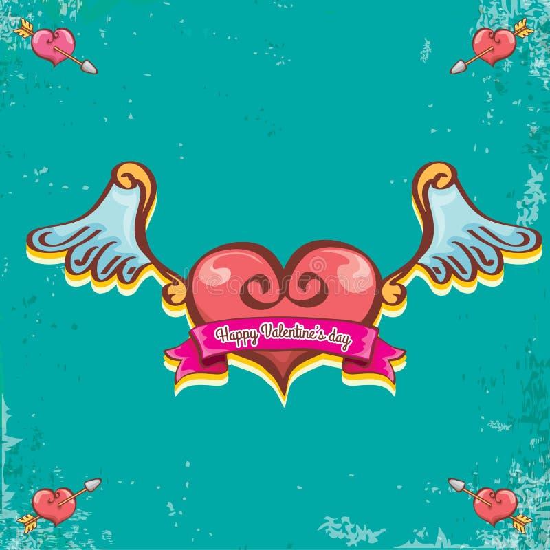 Διανυσματική βαλεντίνων ημέρας εκλεκτής ποιότητας κινούμενων σχεδίων δερματοστιξιών ετικέτα καρδιών ύφους κόκκινη με τα φτερά αγγ απεικόνιση αποθεμάτων