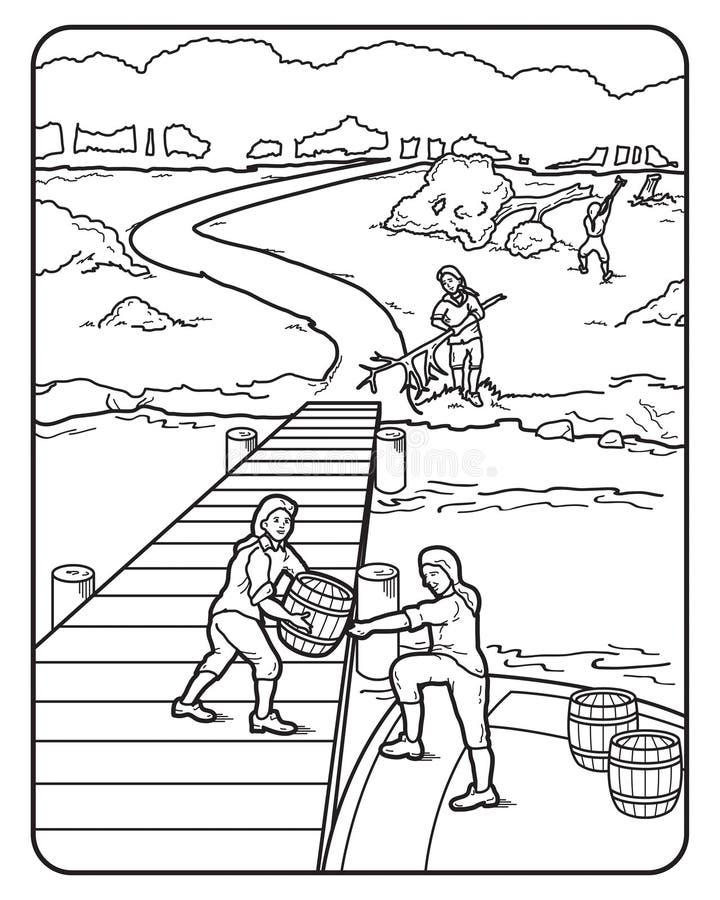 Διανυσματική βούρτσα καθαρίσματος εκφόρτωσης αποβαθρών βαρκών τέχνης διανυσματική απεικόνιση